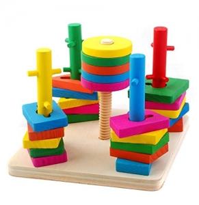 Jucarie din lemn Coloane sortatoare cu obstacole