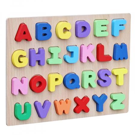 Joc puzzle din lemn cu litere de tipar Invata Alfabetul.