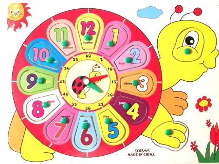 """Jucarie puzzle incastru """"Ceas din lemn buburuza"""""""