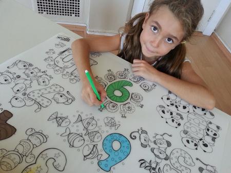 Pachet PROMO: Plansa de colorat reutilizabila - Cifre si numere + Carioca JOY