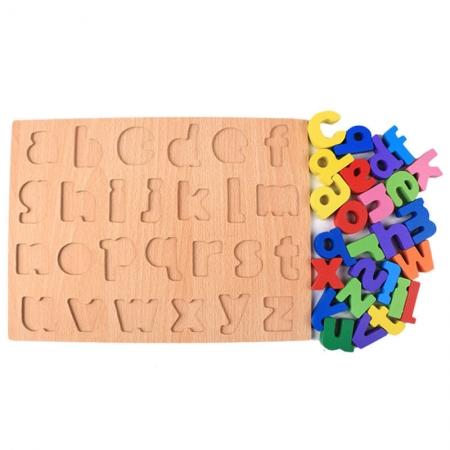 Puzzle litere mici colorate de la a la z pentru a invata alfabetul si pentru a exersa culorile