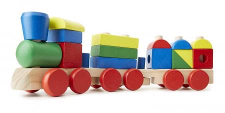 Puzzle Trenulet din lemn cuburi si forme geometrice