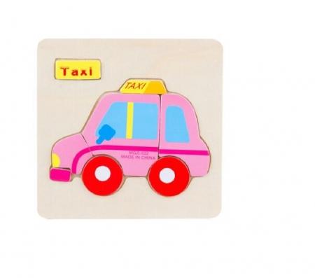 Puzzle incastru din lemn Taxi