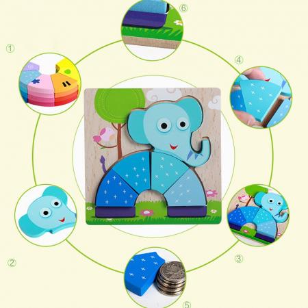 Joc puzzle lemn Elefant