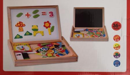 Puzzle magnetic din lemn si tabla 3 in 1 - jucarie educativa