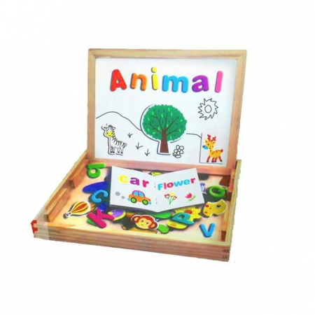 Jucarie tablita educativa din lemn cu puzzle magnetic 3 in 1.
