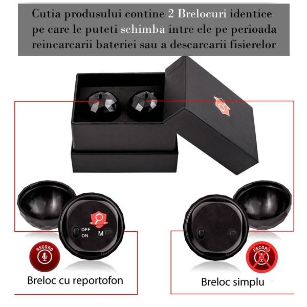 Reportofon Spy Mascat in Breloc de Chei | Memorie 4GB | Functie de Activare Vocala | 32 Ore Autonomie Baterie | 2 moduri de inregistrare: continuu sau la detectie de sunet 5