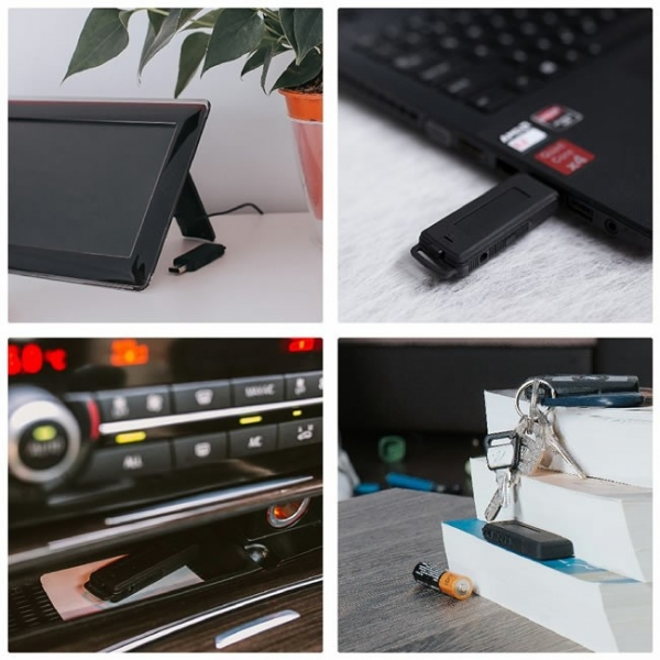 Stick USB de Memorie Spion cu Inregistrare 384kbps, Functie de Activare Vocala, Memorie Interna 8Gb - 564 de ore - Model Profesional 1