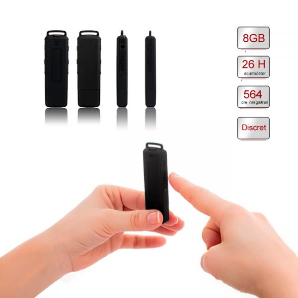Stick USB de Memorie Spion cu Inregistrare 384kbps, Functie de Activare Vocala, Memorie Interna 8Gb - 564 de ore - Model Profesional 0
