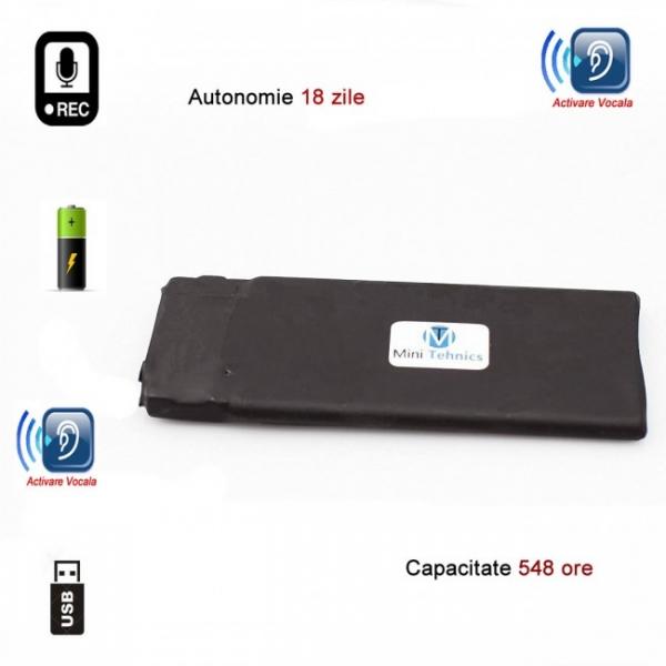 Reportofon Spion Profesional cu Autonomie 18 Zile - Memorie 8GB- Stocare 554 de Ore, Sunet UltraClear si Casti Incluse 2