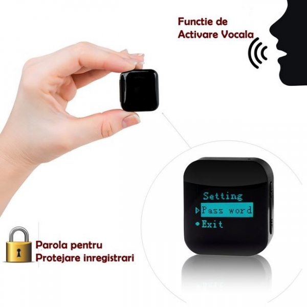 Reportofon pentru Spionaj Audio cu Parola si Activare Vocala Setabila, Model Profesional, Memorie Interna 16Gb - 1144 de ore - 1536 kbps , aTTo 16GB 0