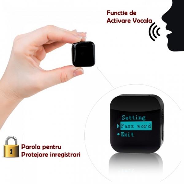 Mini Reportofon Activare Vocala si Parola De Protectie - -24 de ore Baterie - 4GB- 286 de ore - 1536 kbps, Model Profesional aTTo 4GB 0