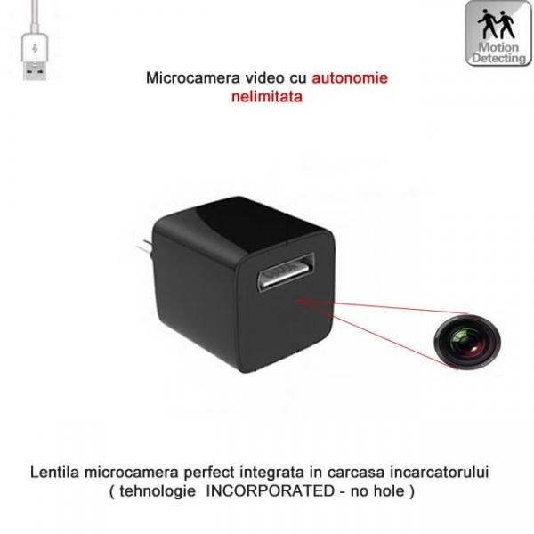 Incarcator USB Telefon cu Modul Camera Video Spy, Detector de Miscare si Alimentare Permanenta 0
