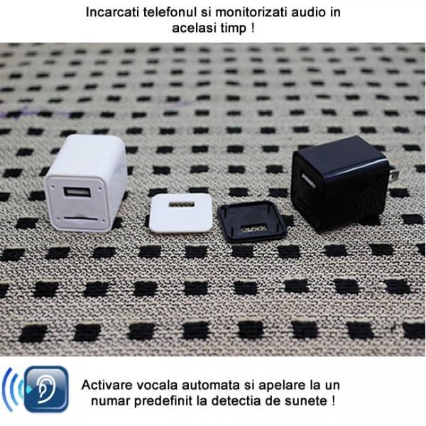 Incarcator USB de Telefon cu Microfon GSM Spion Integrat – Functie de Activare Vocala 1
