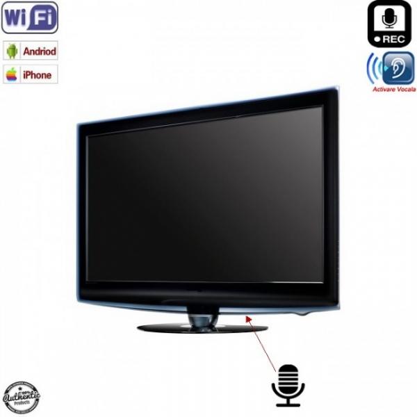 Reportofon Spion Profesional Integrat in Televizor cu Activare Vocala + Wi-Fi + Ascultare Live pe Internet