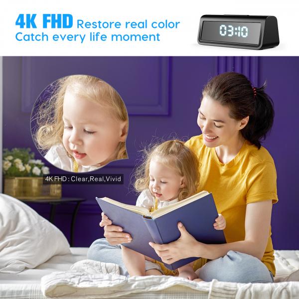 Camera Video Spion, IP WI-FI Integrata in Ceas de Birou, Night Vision, Rezolutie 4K, 128GB, P2P, Senzor de Miscare 1