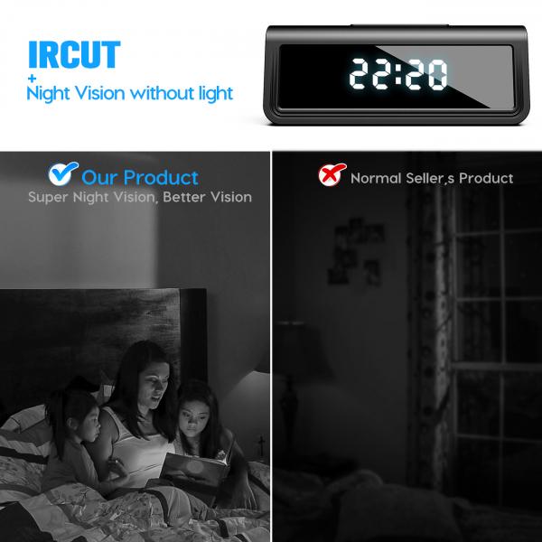Camera Video Spion, IP WI-FI Integrata in Ceas de Birou, Night Vision, Rezolutie 4K, 128GB, P2P, Senzor de Miscare 4