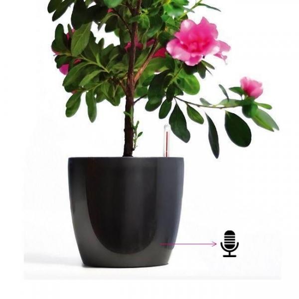 Ghiveci de Flori Negru cu Microfon  Gsm pentru Spionaj Audio in Timp Real, Functie de Activare Vocala 0