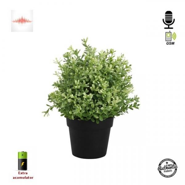 Ghiveci de Flori Negru cu Microfon  Gsm pentru Spionaj Audio in Timp Real, Functie de Activare Vocala 2