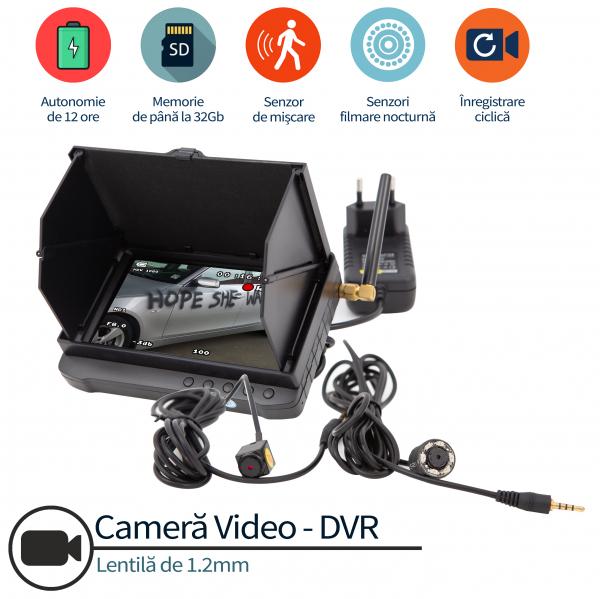 Cameră Video Spy Ascunsă Anti-Vandalism Auto, Protecție Completă, Senzor de Mișcare, Stocare pe Card MicroSD 32GB 3