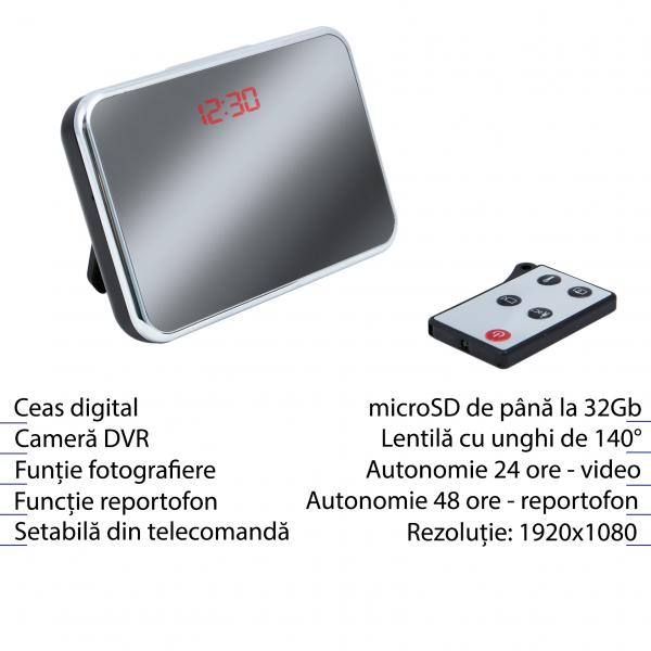 Cameră Spion HD de 5MP Ascunsă în Ceas de Birou | Senzor de Mișcare | Reportofon | Suportă Card MicroSD de 32GB | Telecomandă | JSCM089 1