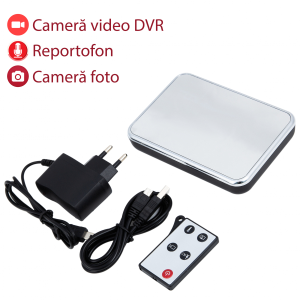 Cameră Spion HD de 5MP Ascunsă în Ceas de Birou | Senzor de Mișcare | Reportofon | Suportă Card MicroSD de 32GB | Telecomandă | JSCM089 0