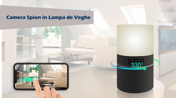 Cameră Video Spy Ascunsă în Lampă de Veghe, Rezoluție Full HD, Capacitate Stocare 128GB, Activare la Mișcare 5