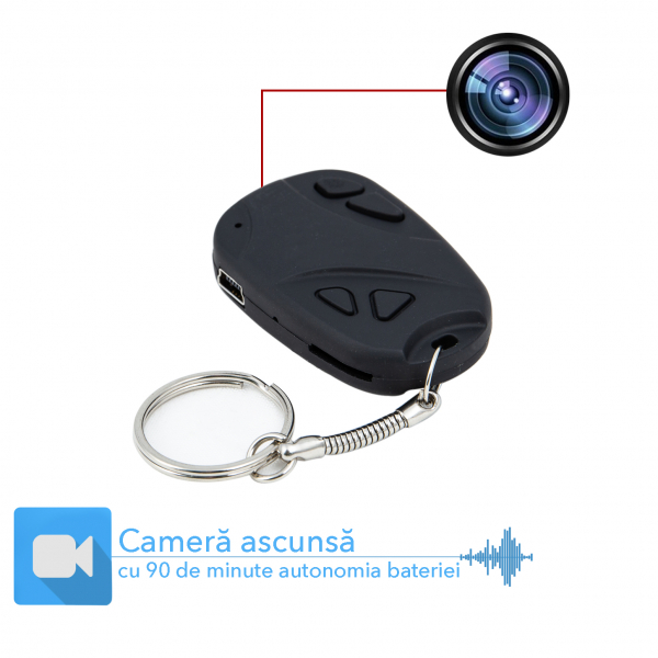 Camera Video Spion Ascunsa in Breloc Telecomanda Auto 8GB 0