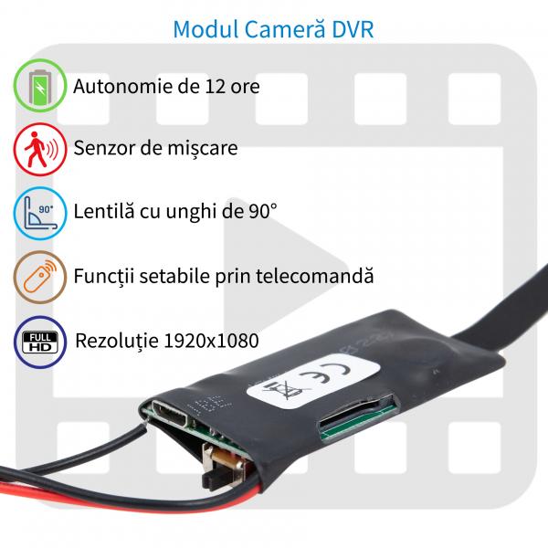 Cameră Video Spion Modul Integrabil | 8mm -12 ore - 32GB | Senzor de Mișcare și Telecomandă | MCS8MM32GB 0