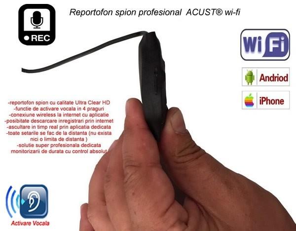 Reportofon Spy Ultraprofesional IP Wi-Fi + Descarcare Inregistrari + Ascultare Live pe Internet - Model ACUST® 0