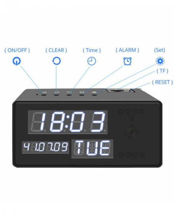 Ceas de birou cu Microcamera Wi-Fi IP Wireless Spy HD Smart, Detector de Miscare, Night Vision, 64GB, CCSWIIP31 [2]