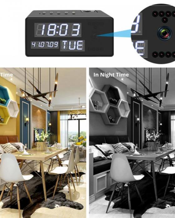 Ceas de birou cu Microcamera Wi-Fi IP Wireless Spy HD Smart, Detector de Miscare, Night Vision, 64GB, CCSWIIP31 [4]