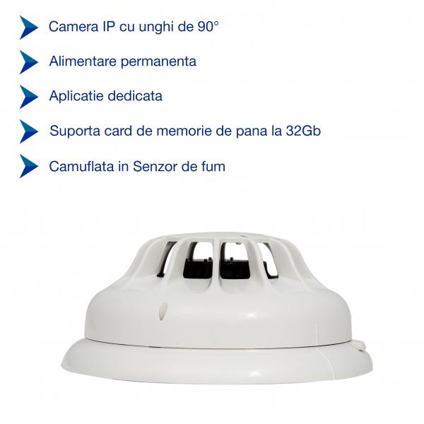 Detector de fum cu microcamera spion WI-FI Ip, hd, senzor de miscare incorporat 1