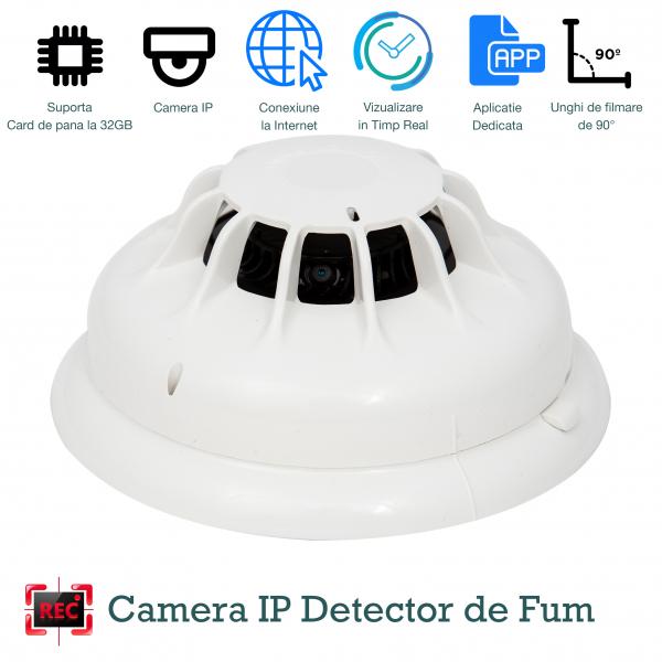 Detector de fum cu microcamera spion WI-FI Ip, hd, senzor de miscare incorporat 0