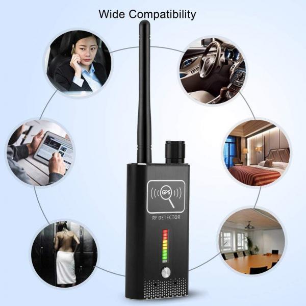 Detector Ultraprofesional de Camere Video Spion, Microfoane si Localizatoare GPS, 8.7 GHz, MAXPROTECT08, Husa Antiascultare Bonus 6