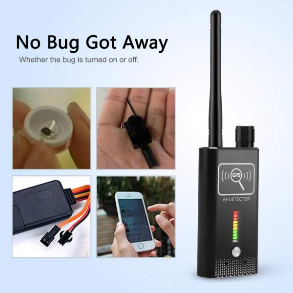 Detector Ultraprofesional de Camere Video Spion, Microfoane si Localizatoare GPS, 8.7 GHz, MAXPROTECT08, Husa Antiascultare Bonus 4