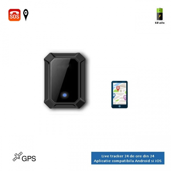 Localizator Profesional GPS Tracker cu autonomie 60 de zile, aplicatie iOS + Android, istoric 3 luni, atasare magnetica, model GPS60MAG 1