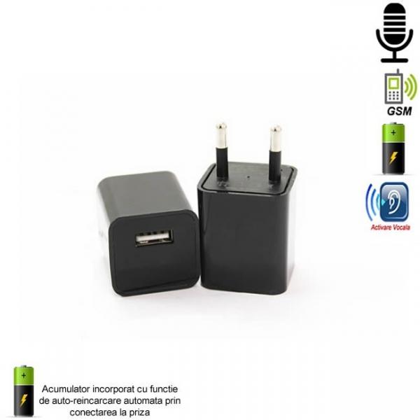 Incarcator USB de Telefon cu Microfon GSM Spion Integrat – Functie de Activare Vocala 0