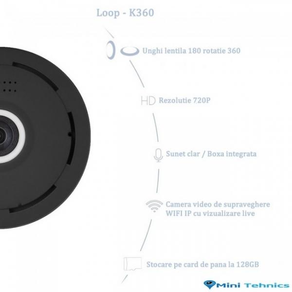 LOOP-K360 - Modul Microcamera Video Spion WiFi IP, 360 de Grade, Filmare pe Timp de Noapte, Unghi Lentila 180°, Detector de Miscare, 128Gb 5