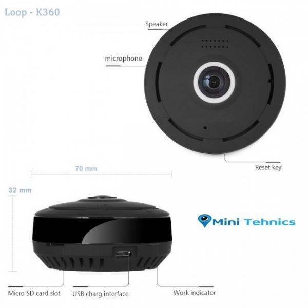 LOOP-K360 - Modul Microcamera Video Spion WiFi IP, 360 de Grade, Filmare pe Timp de Noapte, Unghi Lentila 180°, Detector de Miscare, 128Gb 1