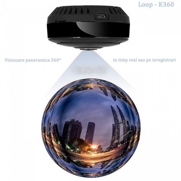 LOOP-K360 - Modul Microcamera Video Spion WiFi IP, 360 de Grade, Filmare pe Timp de Noapte, Unghi Lentila 180°, Detector de Miscare, 128Gb 0
