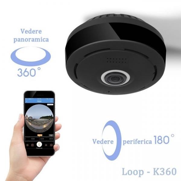 LOOP-K360 - Modul Microcamera Video Spion WiFi IP, 360 de Grade, Filmare pe Timp de Noapte, Unghi Lentila 180°, Detector de Miscare, 128Gb 3