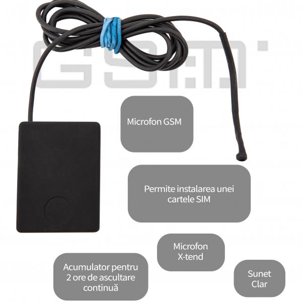 Microfon GSM Profesional spionaj auto cu AGPS pentru supraveghere masina X-tend EAR-AUTO 1