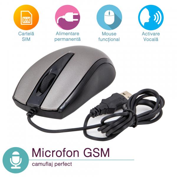 Microfon Gsm Spy cu Activare Voce Ascuns in Mouse - Model MMGS1003 0