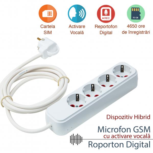 Prelungitor tripla prize cu microfon spion profesional hibrid GSM cu activare vocala + reportofon 4990 de ore PTTRIB008