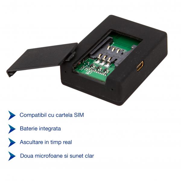 Microfon Spion GSM cu Activare Vocala pentru Ascultare in Timp Real | Comandare prin SMS | 3 Microfoane Incorporate | XSMG108 Model de Top