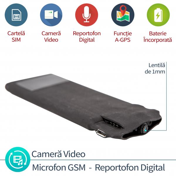 Microfon spy Hibrid cu microcamera video + reportofon + microfon gsm cu detectie voce si functie de AGPS 0