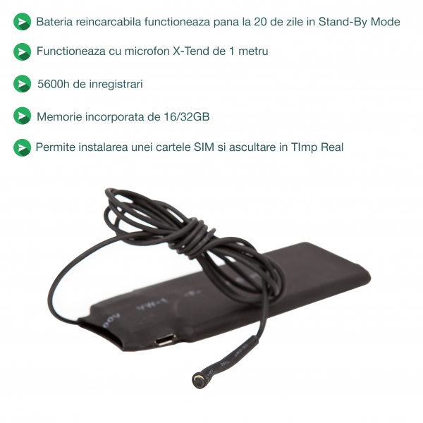 Microfon Spion Hibrid Profesional cu Modul Gsm + Reportofon + Agps RIB0082MMXTD, 5600 Ore Stocare, Microfon de 2 mm 5