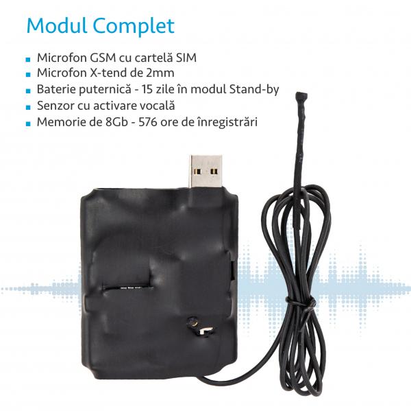 Microfon spion hibrid – reportofon 576 de ore  + microfon GSM cu activare vocala [1]