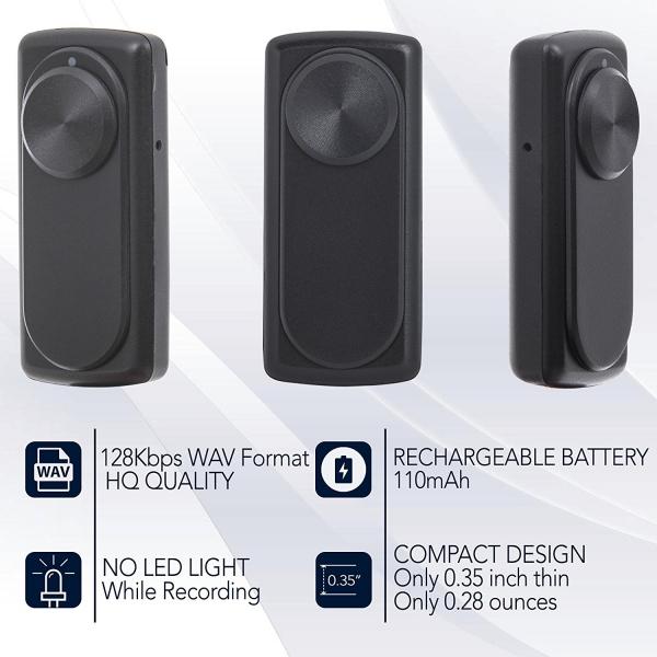 Mini Reportofon 8GB Autonomie 20 de Ore, Înregistrare Continuă și Capacitate de Stocare 90 de Ore - NANOREC 2